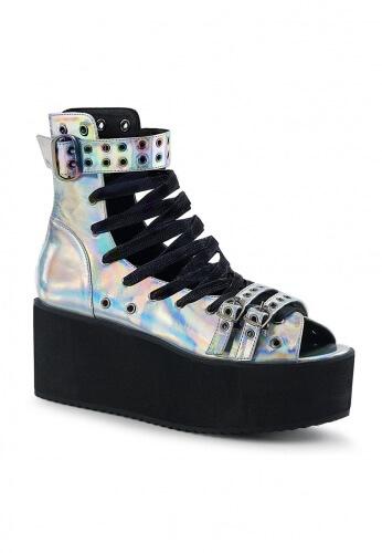 Demonia GRIP-105 Platform Ankle High Sandal Hologram