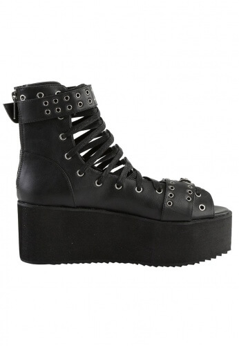 Demonia Black Platform Ankle High Sandals