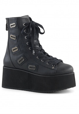 Demonia Black GRIP-103 Platform Ankle Boot