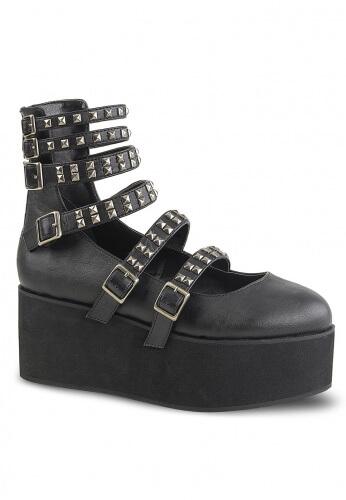 Demonia Black Platform Strappy Mary