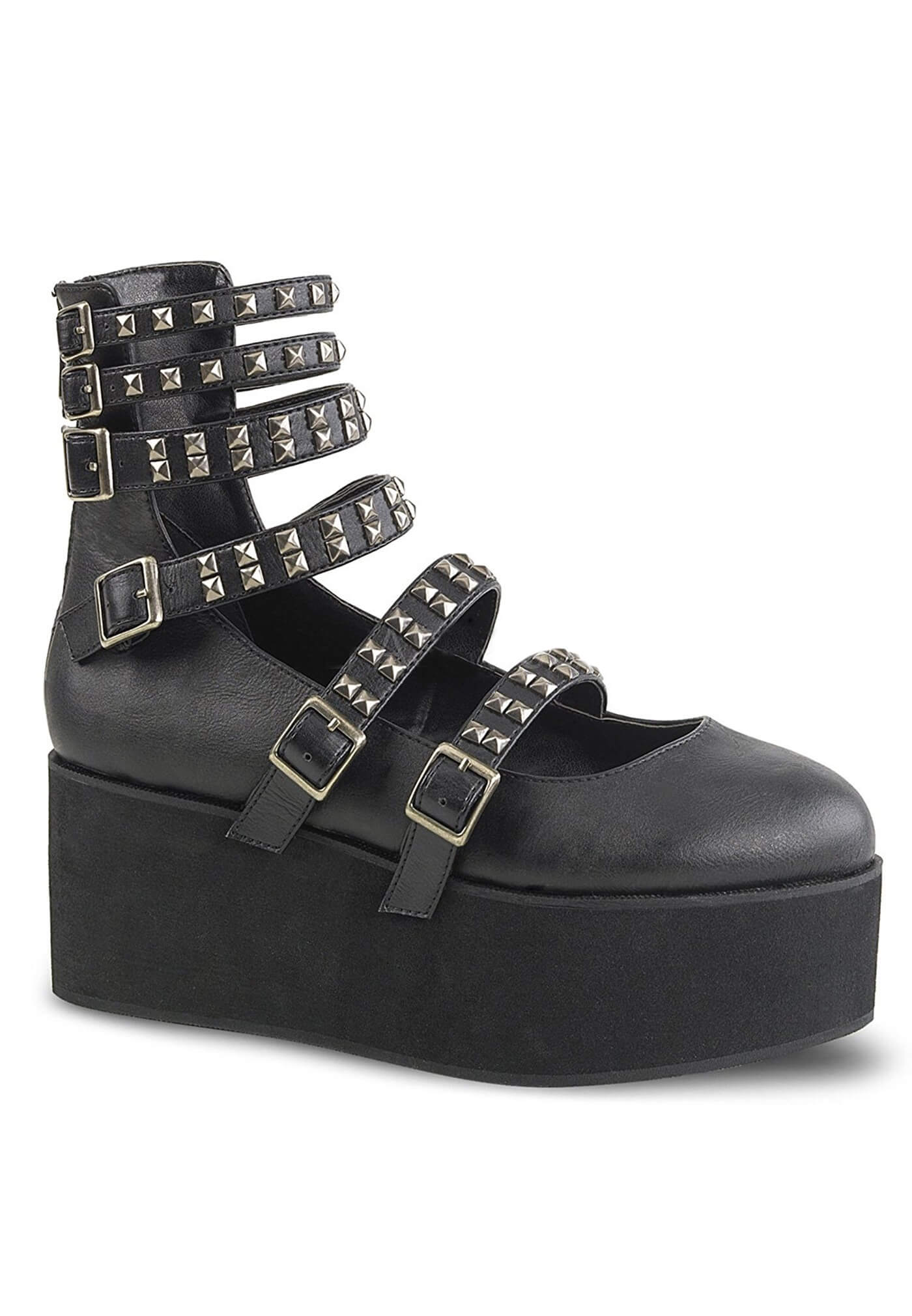 6fefbf609fc2 Demonia Black Platform Strappy Mary Jane Shoes