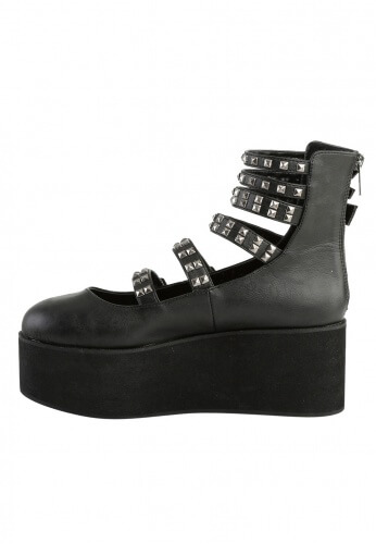Demonia Black Platform Strappy Mary Jane Shoes