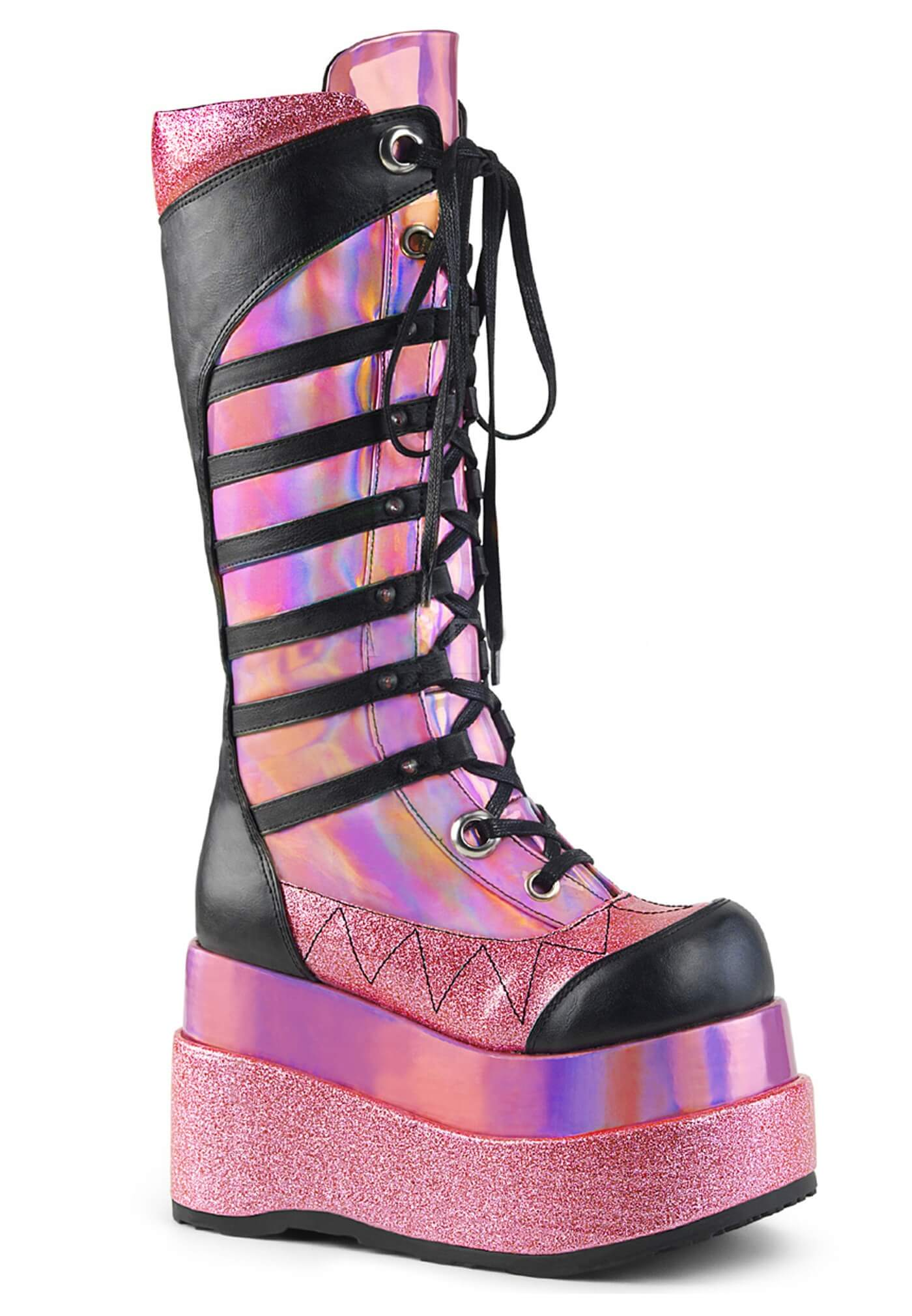 Demonia Pink Hologram Bear Boots Metallic Holographic Cyber Goth And Festival Shoes