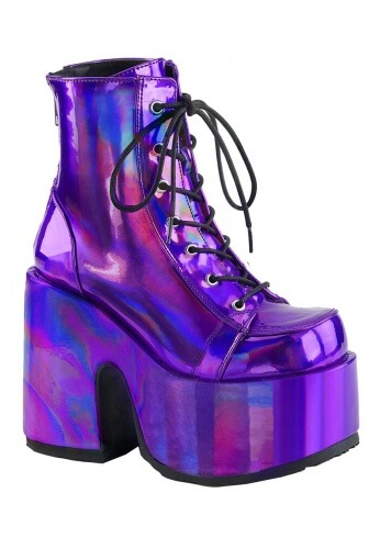 Demonia Holographic Purple Camel-203 Chunky Heel Boot