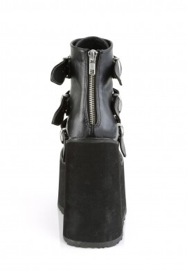Demonia Black Leather Swing-105 Ankle Boots