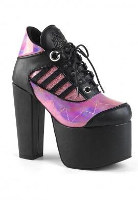 Demonia Pink Hologram Torment-216 Ankle Platform