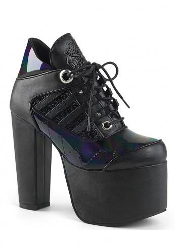 Demonia Black Hologram Torment-216 Ankle Platform