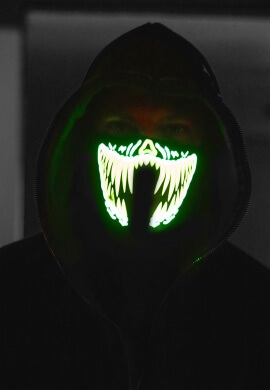 Green Fangs LED Light Up Mask