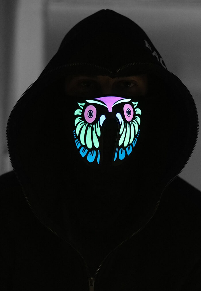 Insomniac Owl Light Up Mask | LED Panel Face Mask