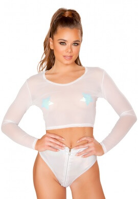 White Sheer Long Sleeved Crop Top