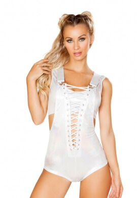 White Laced Deep V-Neck Overall Romper