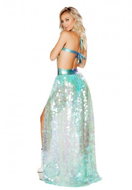 Iridescent Mint Sequin Open Front Skirt