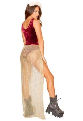 Burgundy Velvet Romper with Attached Sheer Glitter Skirt