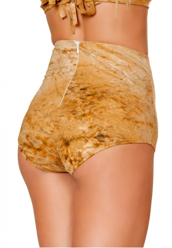 Brown Tie Dye Suede High-Waisted Shorts