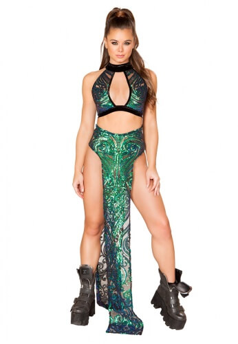 Green Sequin Skirt with Double Panel