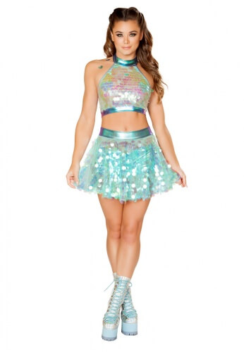 Iridescent Mint Sequin Flared Skirt