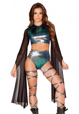 Black and Metallic Crop Top with Sheer Sleeves