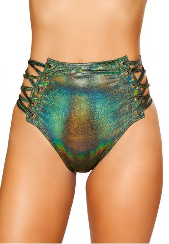 Green Room High-Waisted Shorts with Lace-Up Sides