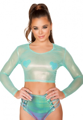Aqua Iridescent Sheer Crop Top