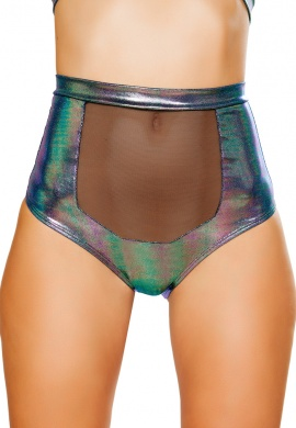 Iridescent Blue High-Waisted Shorts with Sheer Panel