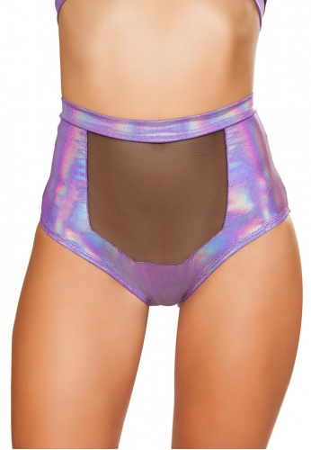 Lavender High-Waisted Shorts with Sheer Panel