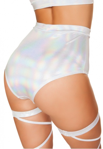 White High-Waisted Shorts with Sheer Panel