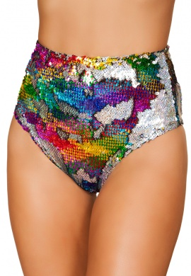 Rainbow and Silver Reversible Sequin High Waist Shorts