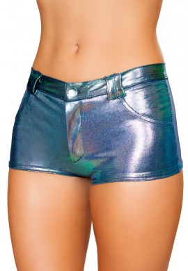 Iridescent Blue Shorts with Back Pockets