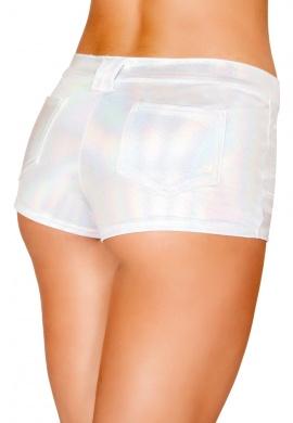 White Hologram Shorts with Back Pockets