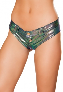 Iridescent Blue Mini Booty Shorts