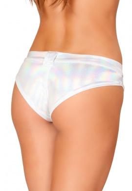 White Hologram Mini Booty Shorts