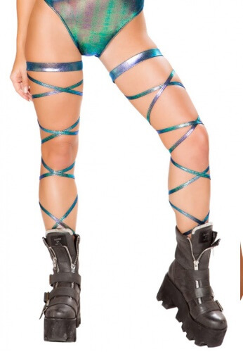 Iridescent Blue Leg Wraps with Garter