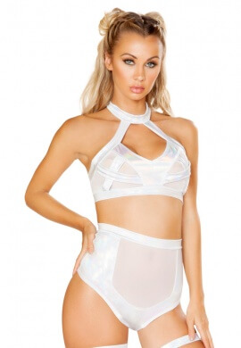 White Hologram Criss Cross Bra Top with Sheer Detail
