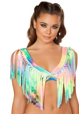 Pastel Rainbow Fringe Crop Top
