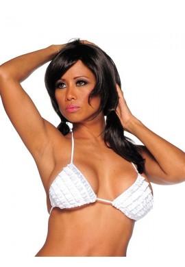 White Ruffled Bikini Top