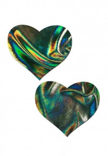 Green Hologram Heart Pasties