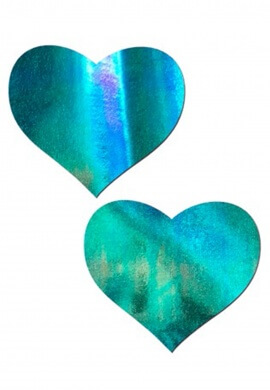 Iridescent Blue Heart Pasties