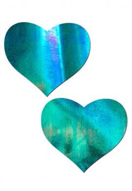 Iridescent Blue Heart Pasties
