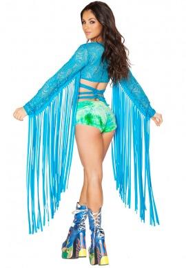 Karma Turquoise Lace Fringe Wrap Top