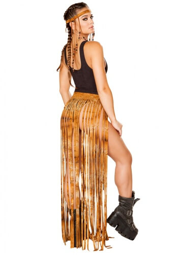 Rusty Tie Dye Fringe Gypsy Skirt