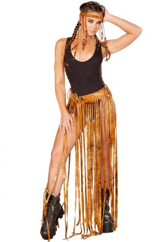 Rusty Tie Dye Fringe Gypsy Skirt