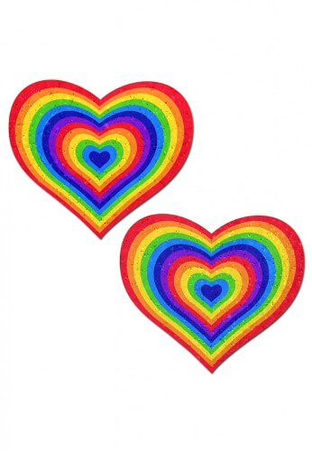Glitter Rainbow Heart Pasties