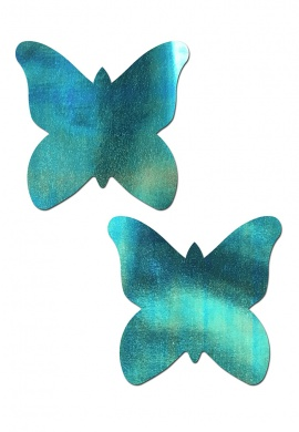 Aqua Holographic Butterfly Pasties