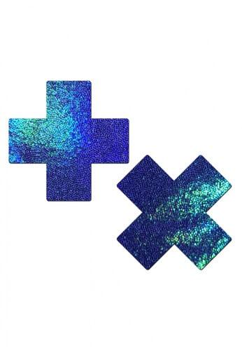 Holographic Blue Spectrum Cross Pasties