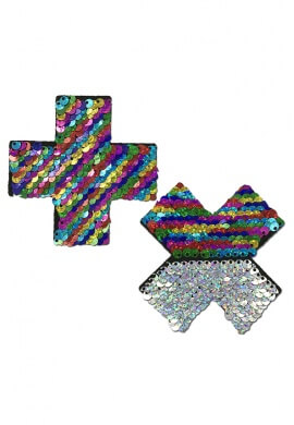 Rainbow Sequin Cross Pasties