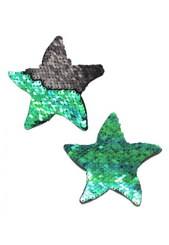 Black Reversible Sequin Starfish Pasties