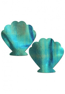 Holographic Aqua Seashell Pasties