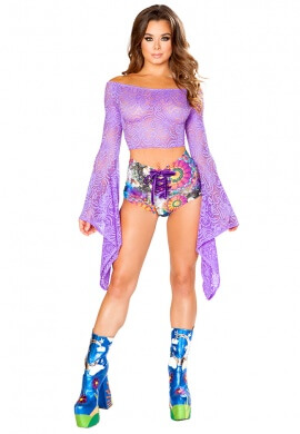Lavender Lace Gypsy Sleeve Top