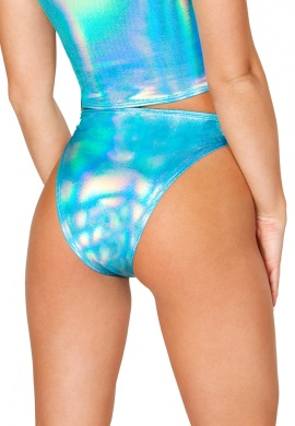 Turquoise Hologram Lace-Up Bottom