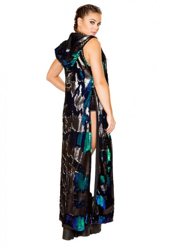 Black and Blue Green Reversible Sequin Duster